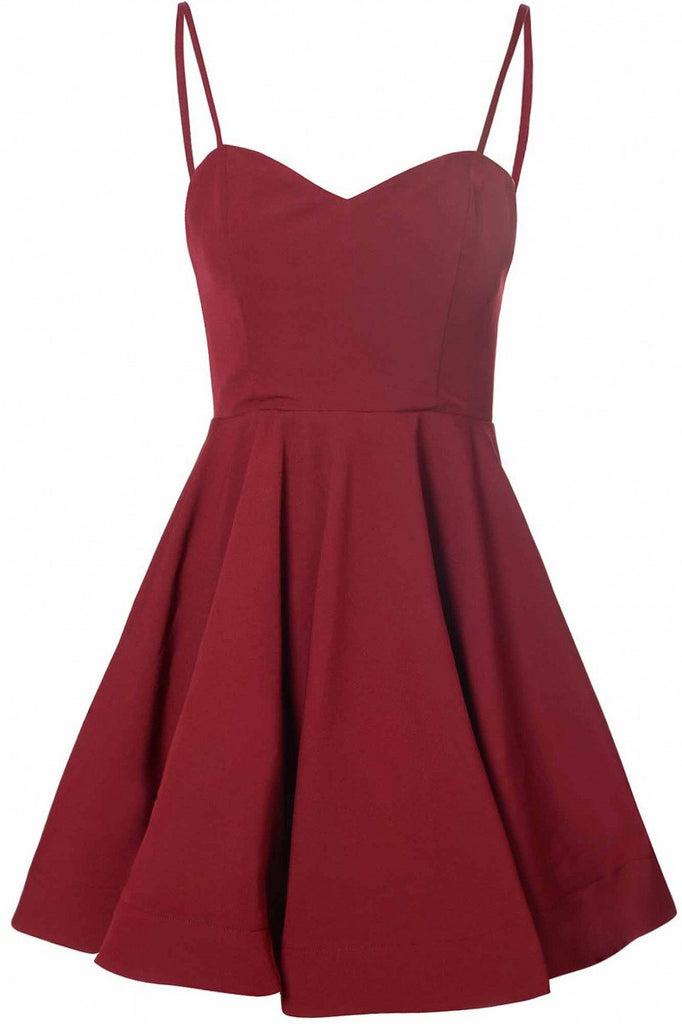 Simple A-Line Spaghetti Straps Satin Burgundy Short Homecoming Dress With Pleats PM13