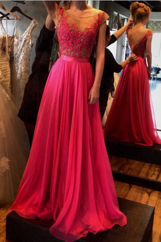 A-Line See-Through Neckline Appliques Chiffon Red Lace Backless Beads Prom Dresses UK PH316