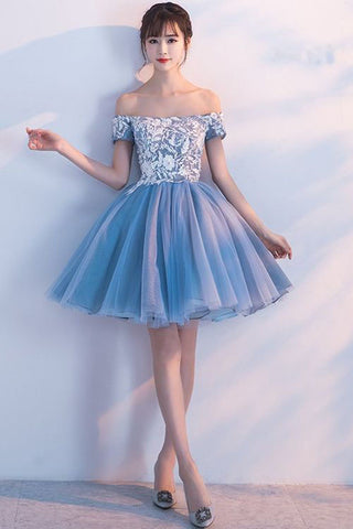 Cute A Line Off the Shoulder Above Knee Blue Short Prom Dresses, Homecoming Dresses PW946