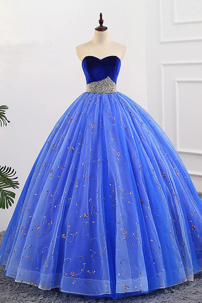 Ball Gown Sweetheart Strapless Prom Dresses with Beading, Tulle Quinceanera Dresses P1354
