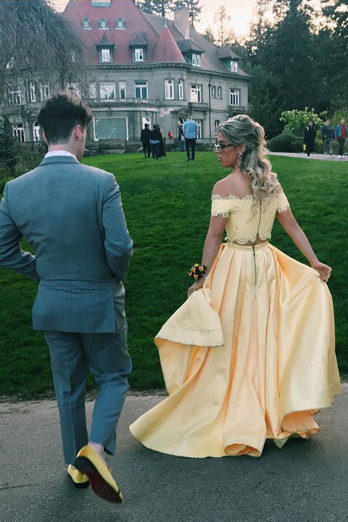 Elegant Two Pieces Yellow Off the Shoulder Prom Dresses Satin Appliques Party Dresses P1367