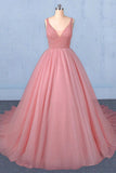 Ball Gown V Neck Tulle Prom Dress with Beads, Puffy Pink Sleeveless Quinceanera Dresses P1251