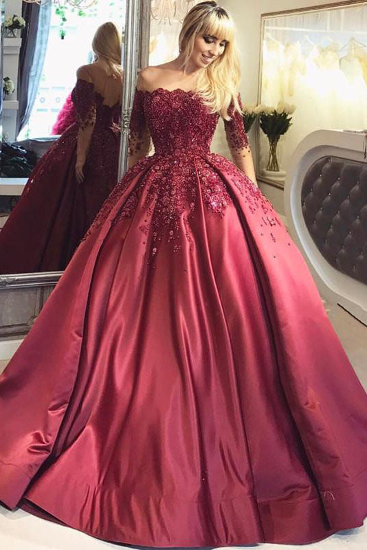 Prom Dresses,2018 Dark Red Lace Long Sleeve Off-the-Shoulder Ball ...