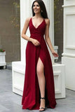 Charming A Line V Neck Burgundy Satin Prom Dresses, Simple Evening Dresses P1414
