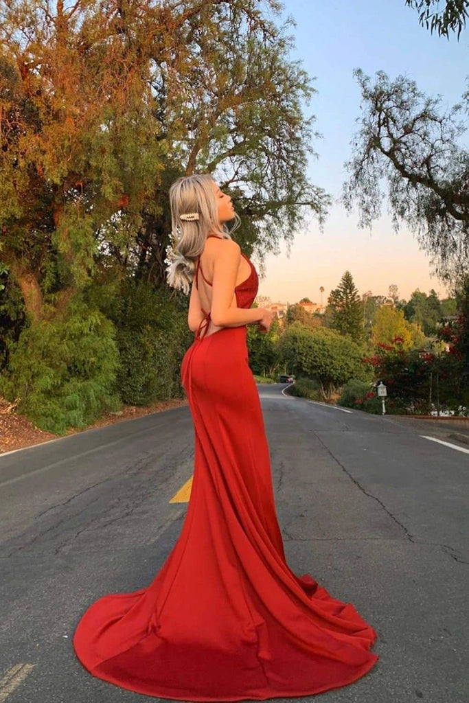 Charming Red Mermaid Criss Cross Prom Dresses, Long Cheap Evening Dresses P1555