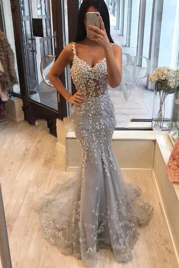 Unique Spaghetti Straps Mermaid Grey V-neck Prom Dresses with Applique P1222