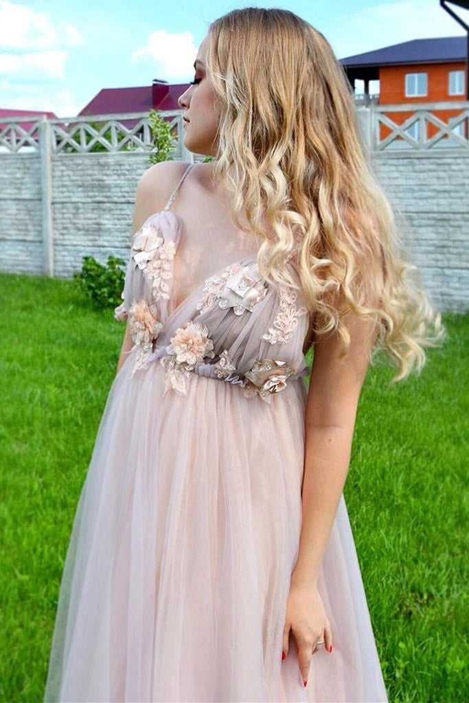 Elegant A Line Spaghetti Straps V Neck Prom Dress With Handmade Flowers, Bridesmaid Dress P1429