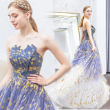 Charming Ombre Puffy Strapless Sparkly Prom Dress, Sexy Long Sleeveless Party Dresses P1236