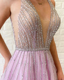 A Line Lilac Deep V Neck Beads Modest Tulle Prom Dresses, Long Formal Dresses P1390