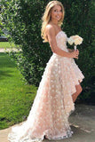 High-low Strapless Homecoming Dress,Cute Mini Beach Wedding Dress PM95