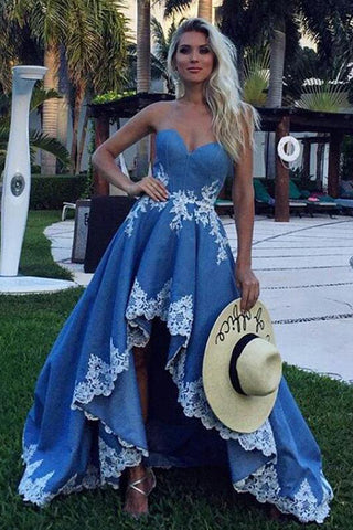 Blue Lace High Low Sweetheart A Line Appliques Long Strapless Cheap Prom Dresses uk PW34