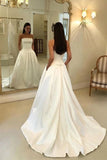 Charming A Line Satin Strapless Wedding Dresses with Pockets, Long Bridal Dresses W1198