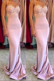 Stylish Mermaid Spaghetti Straps Satin Long Pink Bridesmaid Dresses uk with Lace Appliques PH267