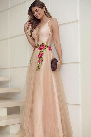 Elegant A Line V Neck Spaghetti Straps Tulle Sleeveless Appliques Long Prom Dresses PH693