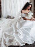 Ball Gown Off the Shoulder Satin White Sweetheart Wedding Dresses, Wedding Gowns W1210