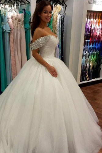 Wonderful Ball Gown Beaded Off the Shoulder Sweetheart Tulle White Wedding Dresses PH685