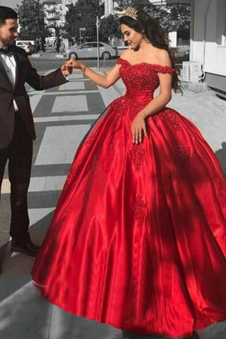 Ball Gown Off the Shoulder Red Satin Lace up Quinceanera Dresses uk with Appliques PW101