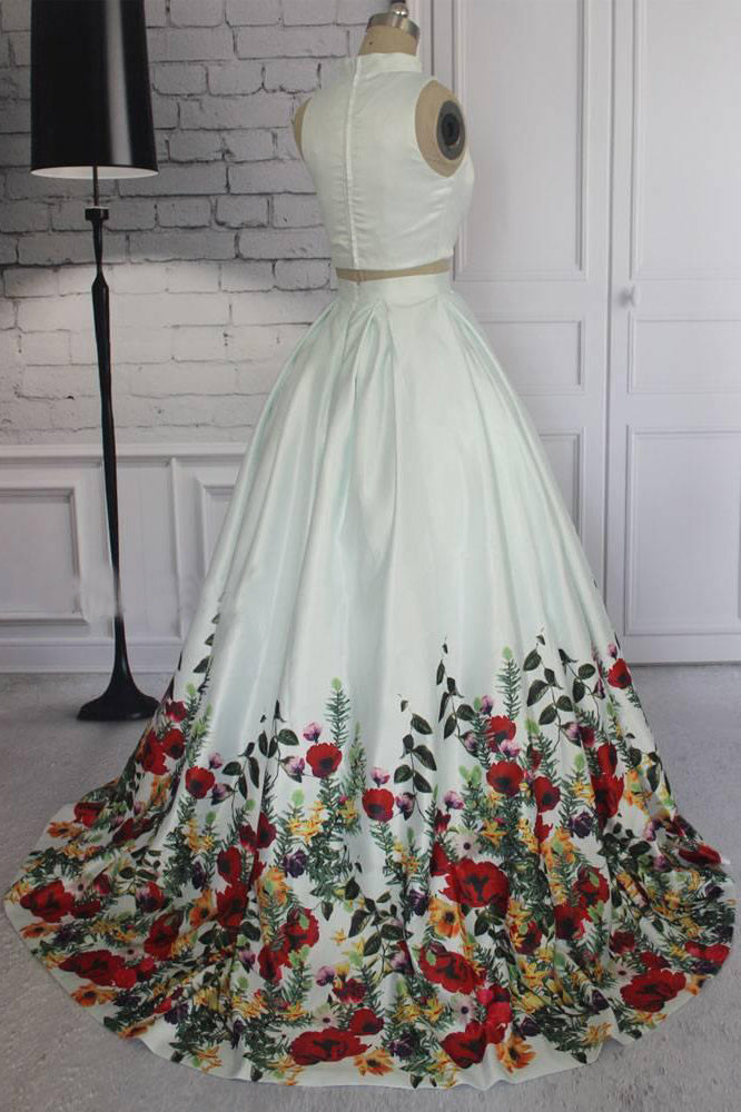Simple Two Pieces Ivory Floral Print High Neck Sleeveless Prom Dresses, Evening Dresses P1012