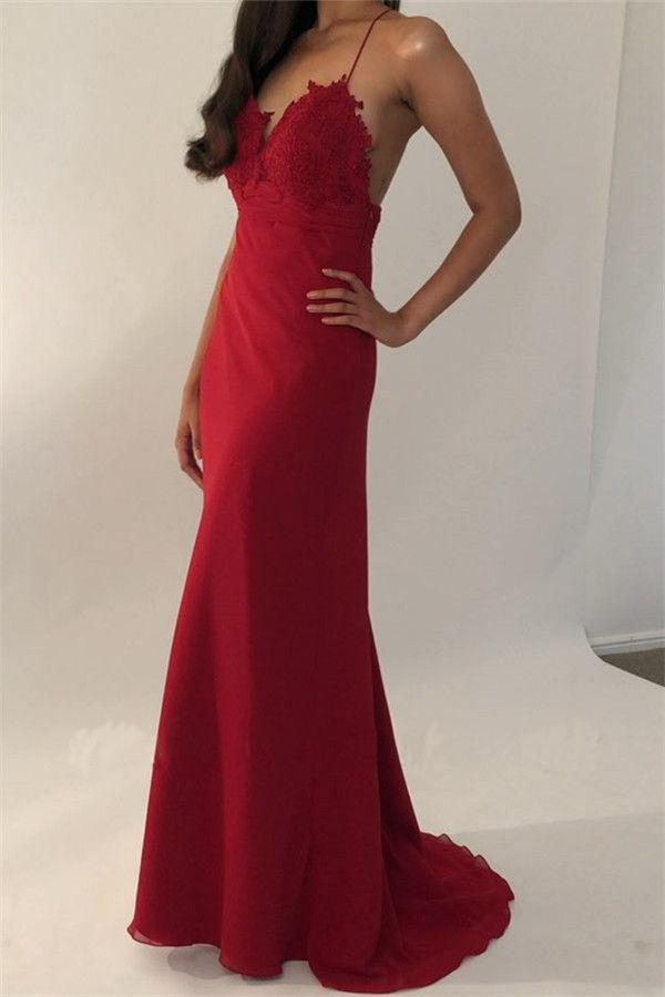 Sexy Red Spaghetti Straps V Neck Mermaid Prom Dresses, Long Evening Dress P1437