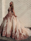 Rosewood Sequins Ball Gown Sweetheart Strapless Quinceanera Dresses with Beads P1453