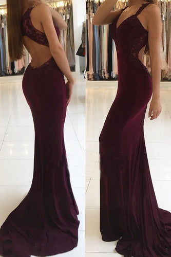 Trumpet Mermaid V-neck Jersey Appliques Burgundy Lace Open Back Prom Dresses PH622