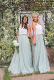 2 Pieces Tulle Ivroy And Mint Long Simple Cheap Elegant Bridesmaid Dresses BD1045