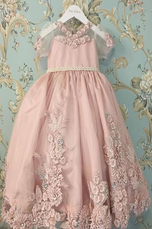 A Line Pink Princess Scoop Neck Short Sleeves Bowknot Lace Appliques Flower Girl Dresses PH860
