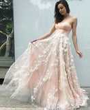 Princess Sweetheart Blush Pink Long Prom Dress with Appliques, Dance Dresses P1516