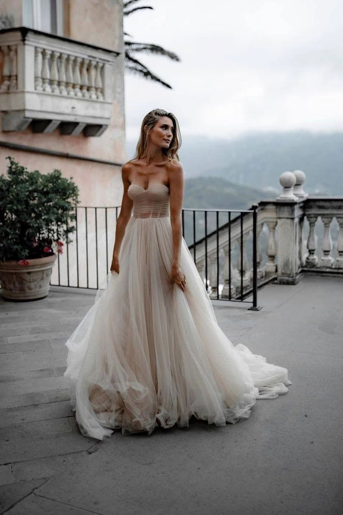 Rustic A Line Tulle Sweetheart Strapless Wedding Dresses, Sleeveless Beach Bridal Dresses W1223