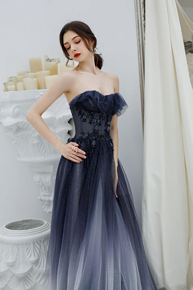 Princess A Line Ombre Strapless Tulle Beading Prom Dresses, Long Dance Dresses P1564