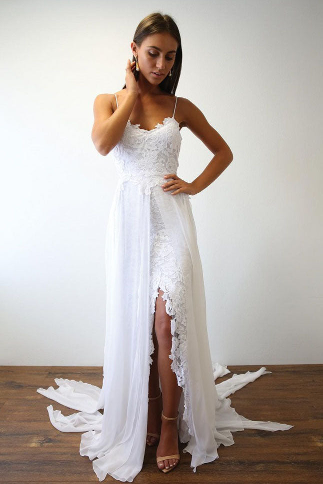 Spaghetti Straps Sweetheart White Lace Wedding Dresses with Chiffon Beach Bridal Dress W1111