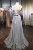 A Line Grey Tulle Beads 3D Flowers Round Neck Long Prom Dresses with Belt P1219