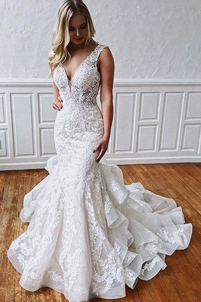 Stunning Mermaid Lace V Neck Backless Wedding Dresses Straps Wedding Gowns W1108