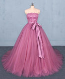 Princess Ball Gown Strapless Wedding Dresses with Lace, Quinceanera Dresses W1136