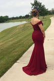 Mermaid Off the Shoulder Burgundy Prom Dresses with Slit, Lace Appliques Evening Dress P1297