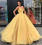 Sweetheart Strapless Yellow Long Modest Prom Gown, Ball Gown Quinceanera Dresses P1177