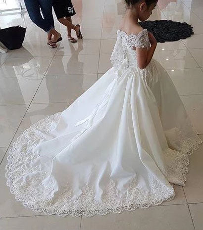 Lovely Cap Sleeves Appliques Ball Gown Little Flower Girl Dress, Off the Shoulder Baby Dress FG1018