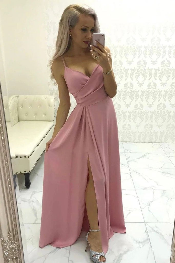 Simple Spaghetti Straps V Neck Satin Ruffles Prom Dress with Pleats, High Slit Evening Dress P1404