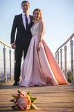 A Line Deep V Neck Beaded Bodice Blush Pink Prom Dresses, Evening Dresses P1394