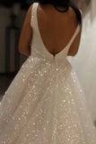 Shiny Ivory Sequins V Neck Backless Straps Wedding Dresses, Beach Bridal Dresses W1186