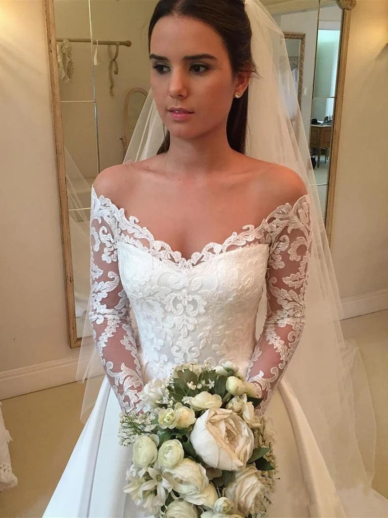Princess Off the Shoulder Modest Wedding Dresses with Lace Long Sleeves W1147