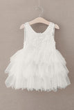 Cute Round Neck White Flower Girl Dresses Open Back Tulle Wedding Party Dresses FG1010