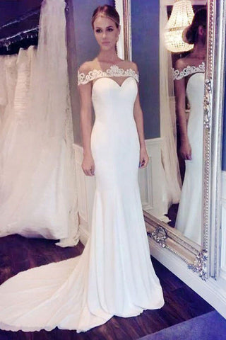Elegant Off the shoulder Mermaid Long White Wedding Dress with Train PM131