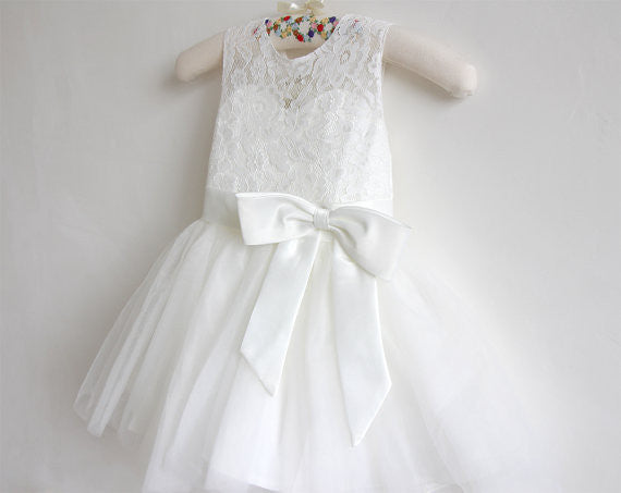 Ankle-length Sashes/Ribbons Scoop Neck White Lace Tulle Flower Girl Dresses PM545