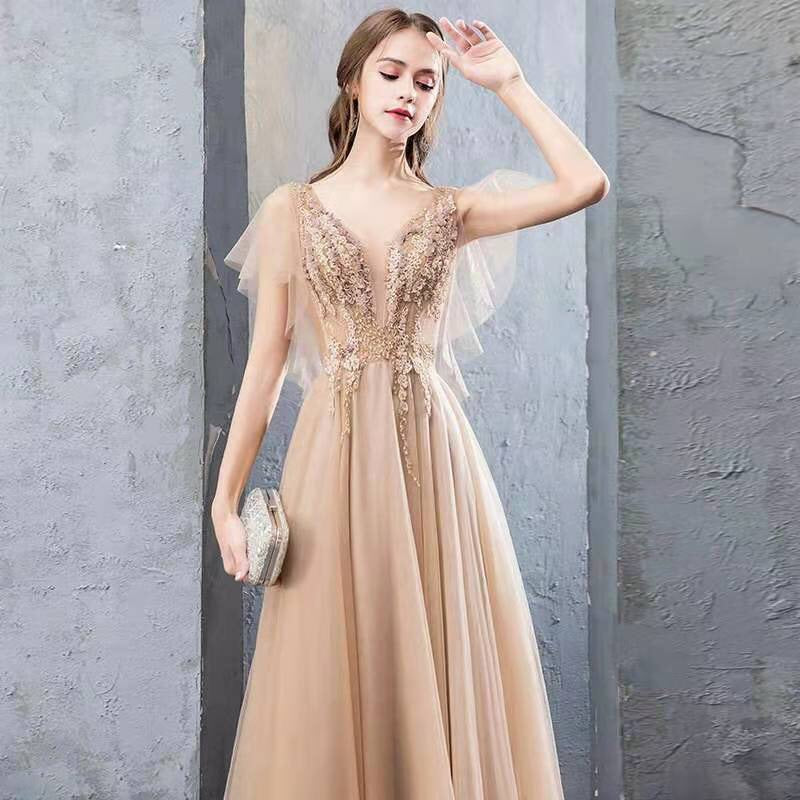 A Line V Neck Tulle Long Prom Dresses, Cheap Evening Dress with Beading PH1800