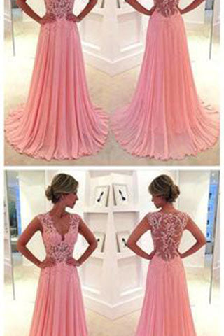 Gorgeous Pink Lace Long Sweetheart Cap Sleeve A-Line Beads Chiffon Prom Dresses uk PH12