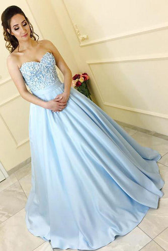 Modest A-Line Sweetheart Strapless Light Blue Sleeveless Long Prom Dresses uk With Lace PH230