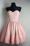 Strapless Sweetheart Short Pink Ball Gown Cute Mini Open Back Homecoming Dress PM169
