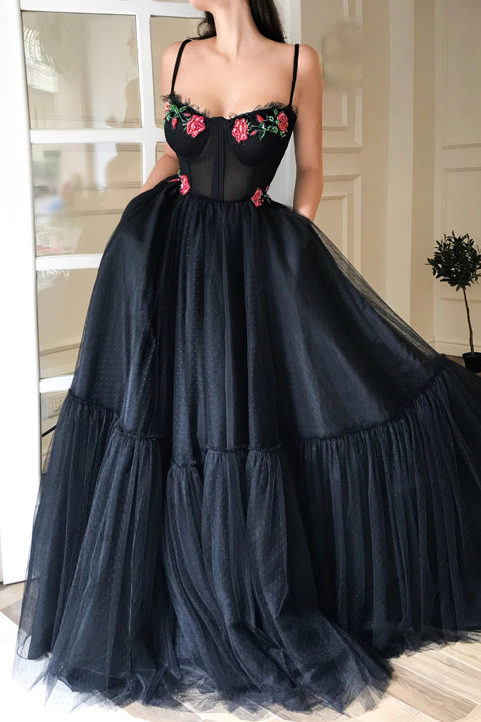 Charming Spaghetti Straps Black Tulle Pockets Prom Dresses with Appliques, Dance Dress P1542