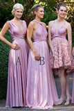 Charming Lilac A-Line V-Neck Floor-Length Lilac Convertible Bridesmaid Dresses, Prom Dresses BD1030